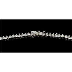 White gold graduating round brilliant cut diamond necklace, stamped 18K, total diamond weight approx 13.50 carat