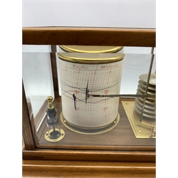 Short and Mason 'Stormoguide' barograph retailed by Brights of Scarborough in glazed mahogany case with single drawer and graph charts W37cm