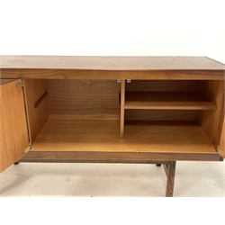 Mid 20th century hardwood veneered sideboard with four drawers flanking cupboard enclosing shelves, raised on moulded supports, 153cm x 46cm, H76cm