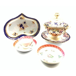 18th century kidney shaped dish, probably Caughley Salopian, Derby Kings pattern tureen and stand circa 1820 and an 18th century tea bowl and two saucers