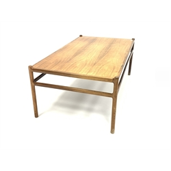 Johannes Anderson for CFC Silkeborg - Mid 20th century Danish Rosewood coffee/low table, with moulded supports united by stretchers, labelled 'Made in Denmark, CFC Silkborg' underneath 134cm x 76cm, H52cm