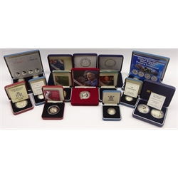 Collection of silver proof coins including 2002, two 2003 and one 2004 crowns, 'The Nelson and HMS Victory' five pound coin pair, 2004 two pounds, 2004 one pound pattern set etc, all cased with certificates (14)