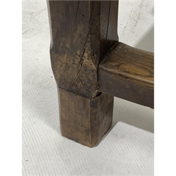 19th century French fruit wood kitchen table, plank top with bread boarded ends, straight supports connected by oak stretchers, drawer to each end, 189cm x 81cm, H79cm