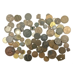 Mixed collection of Great British and World coinage including silver hammered coin, Queen Victoria shilling, various copper coinage etc