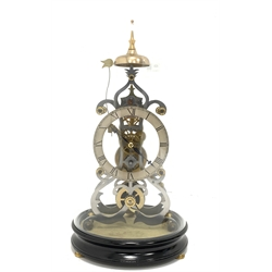20th century Gothic design skeleton mantel clock under glass dome, silvered dial with Roman numeral chapter ring, fusee movement, W