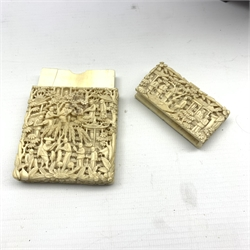 19th century Cantonese carved ivory card case H10.5cm (a/f) together with a 20th century Chinese jar and cover (2)