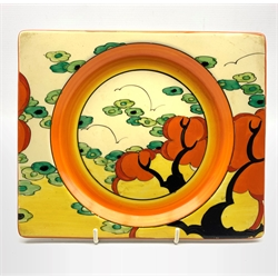 Clarice Cliff for Wilkinson Pottery 'Orange Erin' c.1934 rectangular plate, printed backstamps 23cm