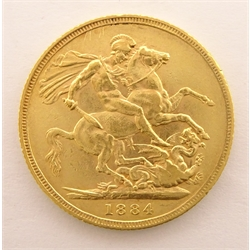 Queen Victoria 1884 gold full sovereign, Sydney mintmark