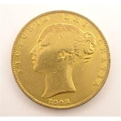Queen Victoria 1842 gold full sovereign