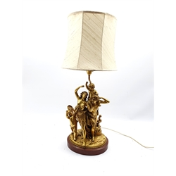Gilded cast brass electric lamp base in the form of a Bacchanalian group  of figures on red marble plinth 50cm (excluding shade)