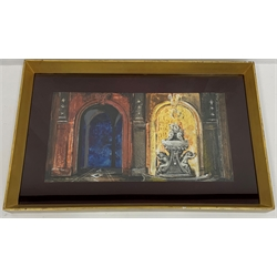 * John Piper C.H. (British 1903-1992): Set design for Don Giovanni, Glyndebourne, 1951, black chalk, pen and black ink, watercolour and bodycolour, signed, in two parts framed together each 32cm x 46cm. This lot may be subject to Artists Resale Rights  Provenance: from the private family collection at Harewood House - <a href='https://www.dugglebystephenson.com/auctions/harewood-house.aspx'>Read more...</a>