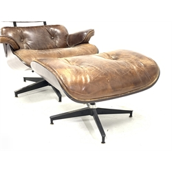 After Eames - Eames style lounger with ottoman, armchair width - 84cm, ottoman width - 66cm