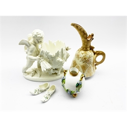 Sitzendorf Blanc de Chine porcelain vase modelled as a Cherub, Royal Worcetser porcelain twin-handled vase relief decorated with encrusted foliage, Doulton Burslem blush ivory jug and a pair of continental porcelain slippers