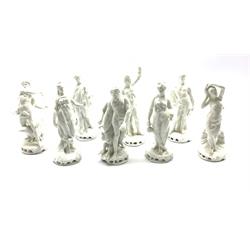 Set of eight Naples Blanc de Chine figures depicting classical gods and goddesses, H14.5cm (8)