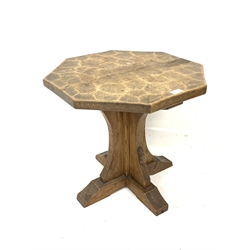 'Mouseman' oak octagonal side table, cruciform base on sledge feet, circa. 1940s, with figuring to the base, by Robert Thompson of Kilburn, D56cm, H47cm