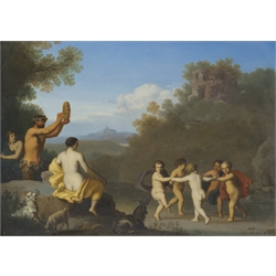 * Circle of Cornelis Van Poelenburgh (Dutch 1594-1667): Landscape with Putti dancing in a Ring, oil on panel, 25cm x 36cm  Provenance: The sale of the collection of a French Nobleman Robinson, Son and Fisher 1871 according to a label on the reverse from the private family collection at Harewood House - <a href='https://www.dugglebystephenson.com/auctions/harewood-house.aspx'>Read more...</a> The Marquess of Clanricarde. Literature: T Borenius, Catalogue of the pictures at Harewood House, Oxford 1936