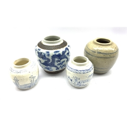 19th Century Chinese blue and white crackle glaze ginger jar H14cm, Chinese glazed stoneware ginger jar and two 19th century blue and white ginger jars painted with continuous landscape and scenes (4)