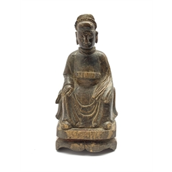 Chinese Ming dynasty carved wood figure of a seated deity H22cm