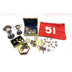 Part set of six gilt metal buttons by Firmin & Sons with lion and shell crest, boxed, collection of various enamel and other badges and pins and two small plated challenge cups