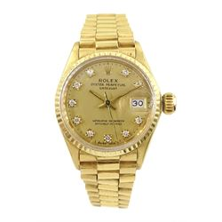Rolex Oyster Perpetual Datejust ladies automatic 18ct gold bracelet wristwatch, circa 1966, diamond dot dial model No. 6517, serial No. 1459627