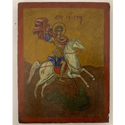 Russian Orthodox Icon, painted wooden panel depicting Saint George Slaying the 24cm x 18.5cm