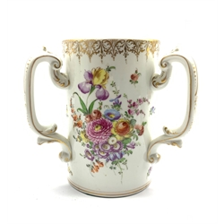 20th century Dresden Tyg hand-painted with floral sprays and gilt borders, H21cm