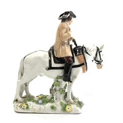 18th Century Meissen group of a horse and rider wearing a tricorn hat, the horses head slightly turned and on a floral encrusted base H21cm x W20cm  Provenance: Property of a Lady of Title