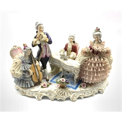 German porcelain musical figure group, comprising a seated gentleman playing a piano, a standing gentleman playing a flute and two others, L40cm x H27cm