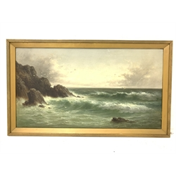 George Goodman (British 19th/early 20th century): Rough Seas on the Shoreline, oil on canvas signed 49.5cm x 90cm