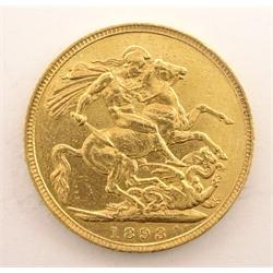 Queen Victoria 1893 gold full sovereign